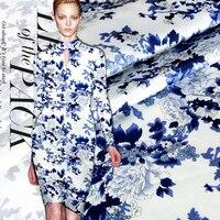 100 Silk Blue Printed Crepe Satin Fabric Pure Natural Mulberry Silk Dress Skirt Material Width114cm