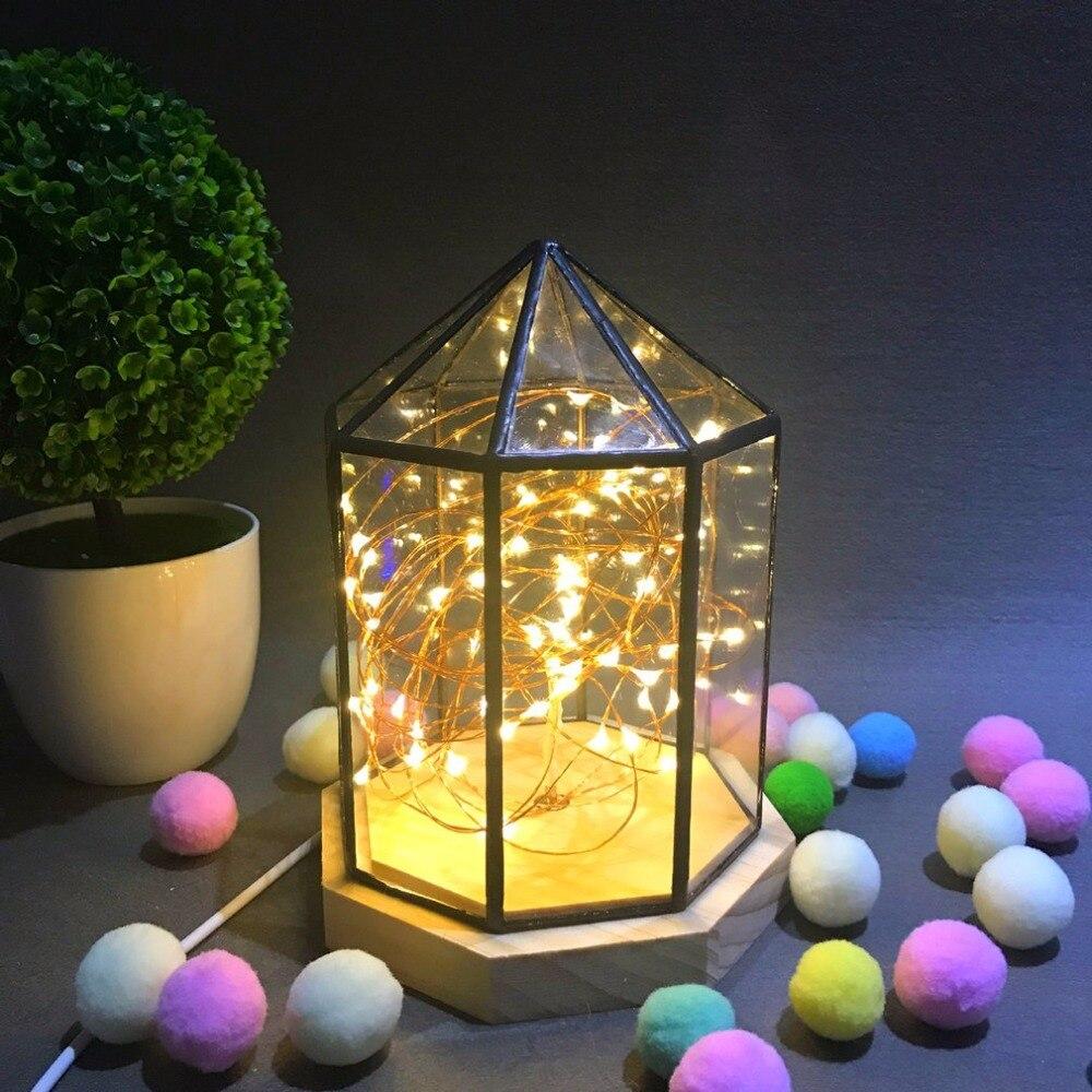 Etoile feu arbre argent fleur maison lampe bois massif verre cache veilleuse Led nordique lampe de Table décorative yourte