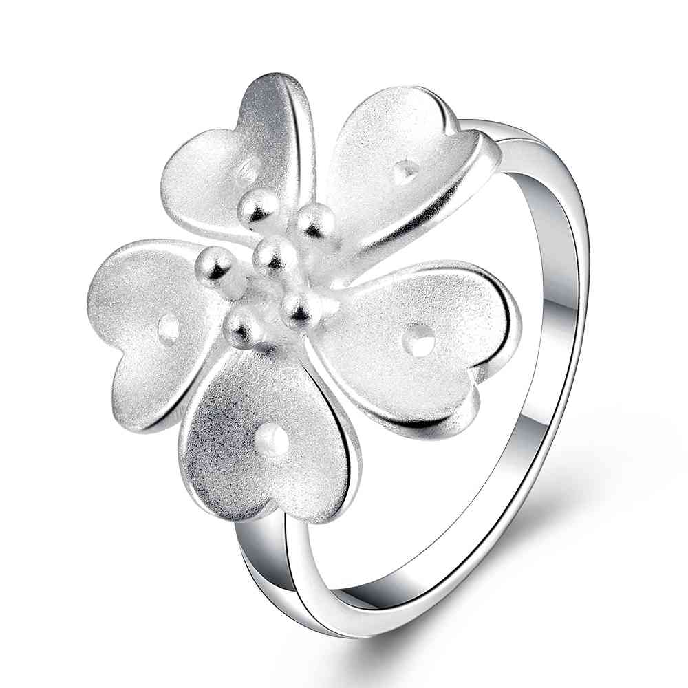 Free Shipping Wholesale 2016 New Silver Wedding Rings Five Leaves And  Flowers Anillos To Bear Costume Jewellery Hbr029
