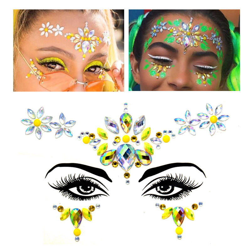Temporary Tattoo Face Jewelry Gems Rhinestone Decoration Party Makeup Body Shining Festival Flash Tattoos Eye Body Art Stickers