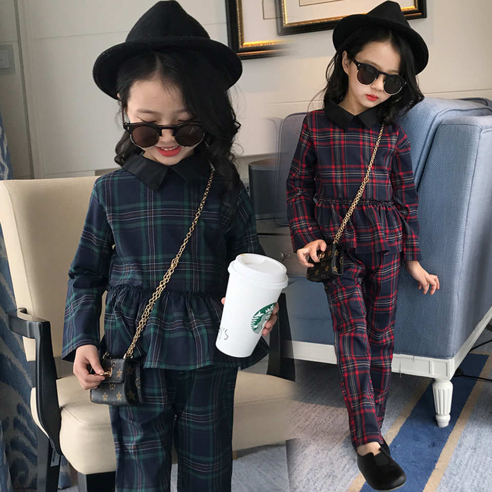 5 6 7 8 9 10 11 12 13 14 Years Autumn Girls Clothes Sets Back To School Uniform Costume 2018 Plaid Blouses + Pants Clothing Sets