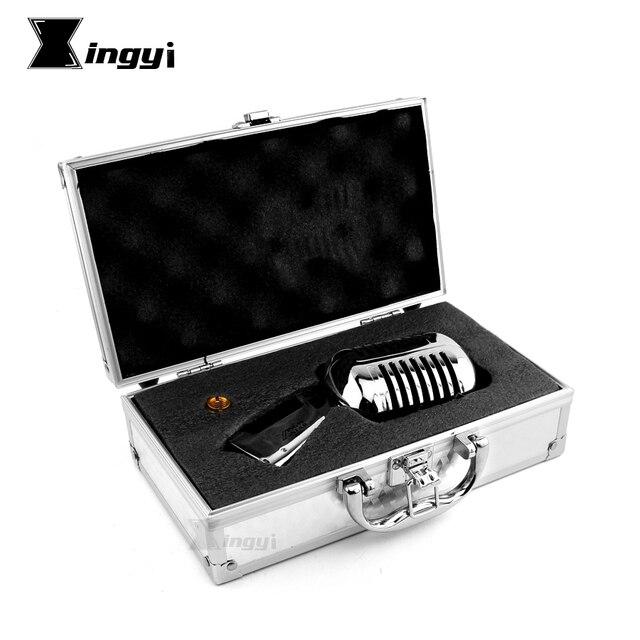 Micrófono Vintage dinámico Vocal profesional de Metal para Karaoke, altavoz, estudio de grabación, KTV, Jazz, controlador de escenario, amplificador