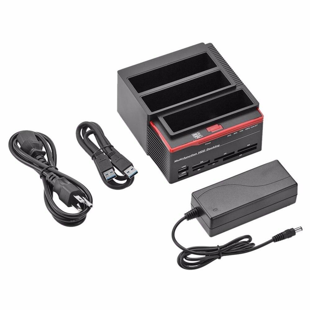 2.5/3.5inch USB 3.0 to 2 SATA Ports 1 IDE Port External HDD Hard Drive Docking Station Card Reader USB3.0 Hub SD\TF\CF\MS\M2\XD