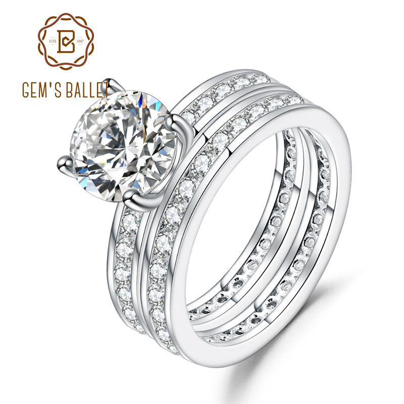 GEM'S BALLET 925 Sterling Silver 2.0Ct 8mm EF Color Moissanite Engagement Wedding Rings For Bridal Sets  Fine Jewelry