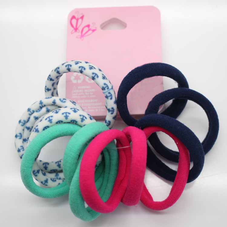 Hot Sale 12Pcs/lot Fashion Girl Solid color dot Elastic Hair Bands hair Rope Ponytail Holder Elastic bandeau For Women headwear
