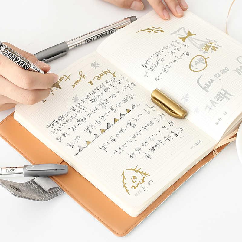 2pcs/set Simple DIY Black Cardboard Special Painting Pen Greeting Card Album Decorative Metal Color Marker Graffiti Pen