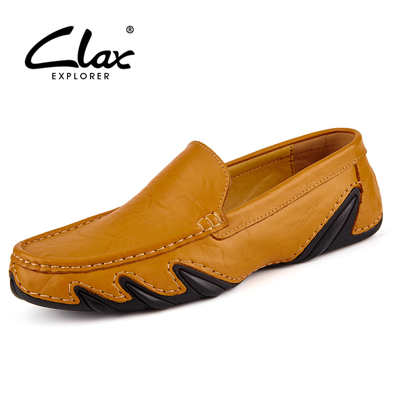 Clax Men Leather Flats Shoes 2017 Spring Summer Men's Boat Shoe Black Blue Casual Loafers Elegant Moccasin Leisure FootWear clax men summer shoes slip on 2017 breathable male flats loafers fisherman shoe casual white boat footwear leather sandals