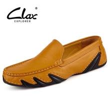 Купить с кэшбэком Clax Men Leather Flats Shoes 2017 Spring Summer Men's Boat Shoe Casual Black Blue Loafers Elegant Moccasin