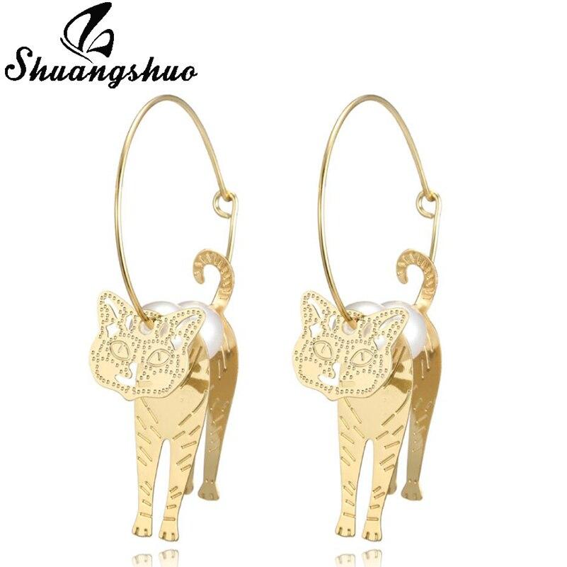 Shuangshuo Cute 3D Cat Hoop Earrings for Women Gold Color Imitation Pearl Animal Earings Handmade Jewelry Earing Birthday Party