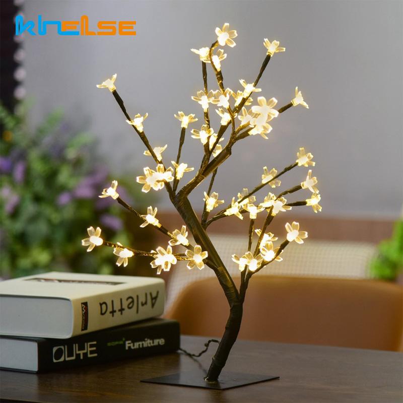 1X Kristall Kirschblte 48 SMD Baum Licht Nacht Lichter Tischlampe Luminarias Weihnachtsdekoration Luz De LED