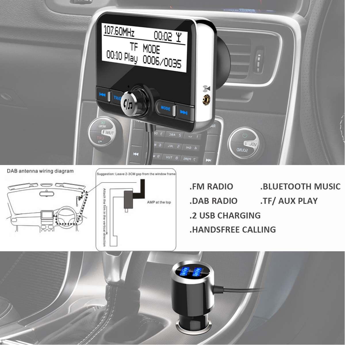 Car DAB Radio Receiver Tuner USB Adapter bluetooth Car Transmitter TF/AUX  Antenna LCD Display Digital Radio Handsfree Calling