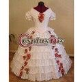 Guerra Civil blanco Gótico Medieval Victoriana Balón vestido de Boda Vestido de Traje de Cosplay
