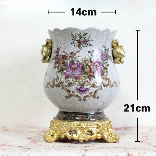 Fashion printing ceramic vaseguci  carved golden flower barrels family living room bedroom study restaurant decoration