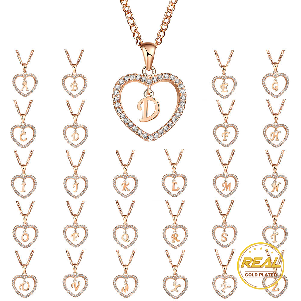 Ladies Abstract Lagenlook Gold Filled Heart Cutout Rose Pendant Necklace Gift