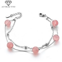 ATTRACTTO S925 Five Pink Bead Bracelets&Bangles Charms For Women Distance Bracelets Friendship Crystal Cuff Bracelet SBR190145(China)