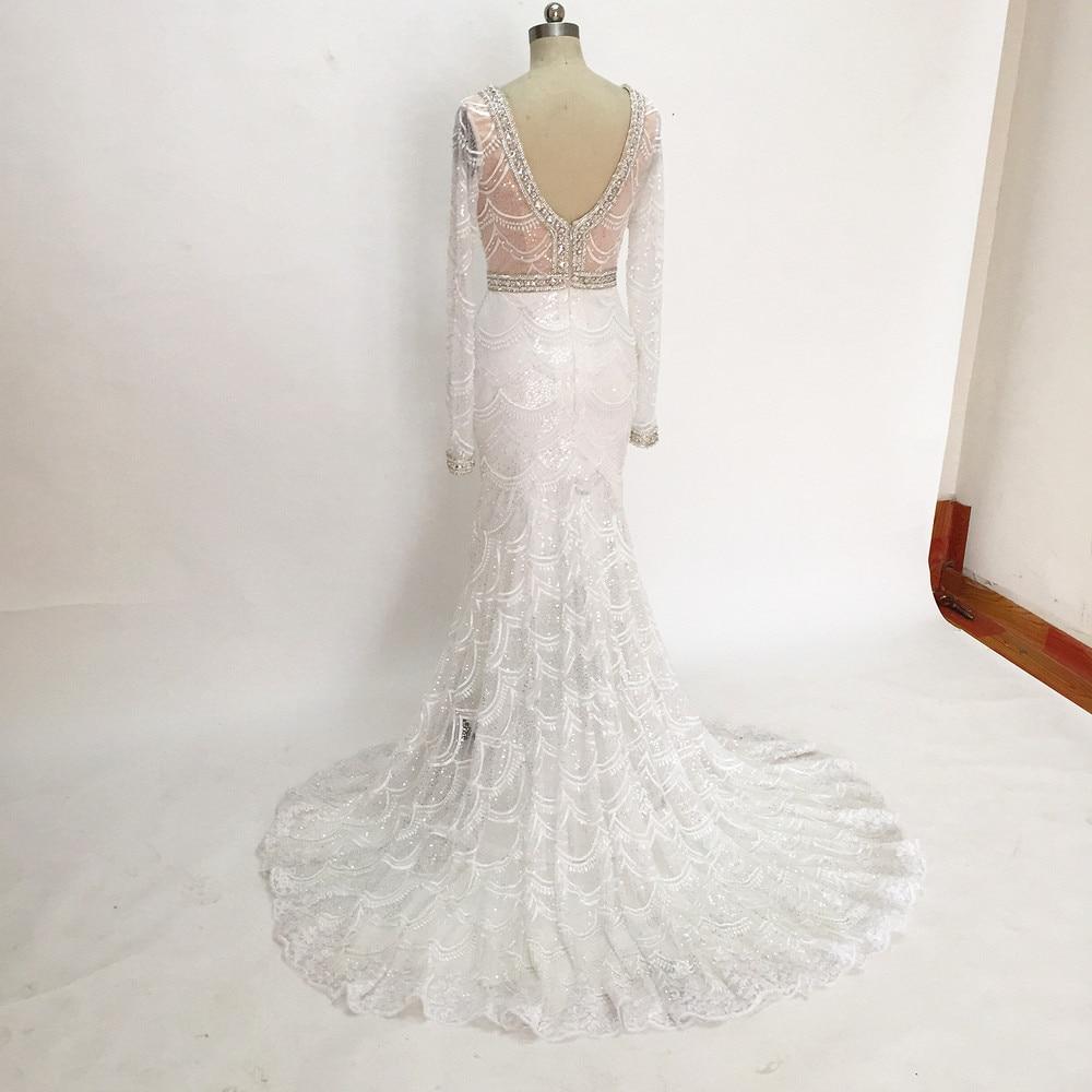 Romantiska Långpärlor Bröllopsklänningar Långärmade Spetsar - Bröllopsklänningar - Foto 6