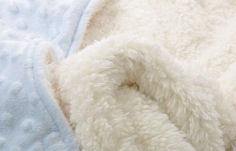 MOTOHOOD Coral Fleece Infant Swaddle Stroller Wrap For Newborn Baby Bedding Blankets Winter Thicken Velvet Baby Blanket Swaddle (8)
