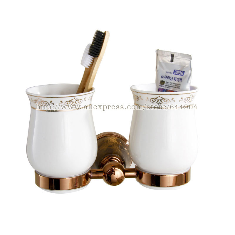 Free Shipping Stone+Brass+Ceramic Bathroom Accessories Rose Red Double Cup  Tumbler Holders,Toothbrush Cup Holders 3A62021  In Cup U0026 Tumbler Holders  From ...