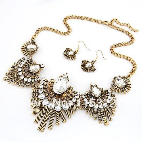 New fashion punk bronze diamante stone designer gold necklace set