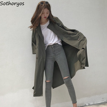 Trench Women Solid Simple All-match Loose Leisure Long Three Quarter Sleeve Coat