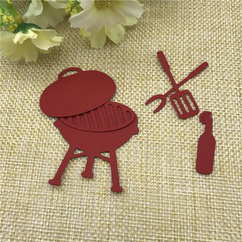 6pcs/Set Weekend Grill Metal Cutting Dies Stencil For DIY Scrapbooking Photo Album Embossing Paper Cards Making Decorative Craft