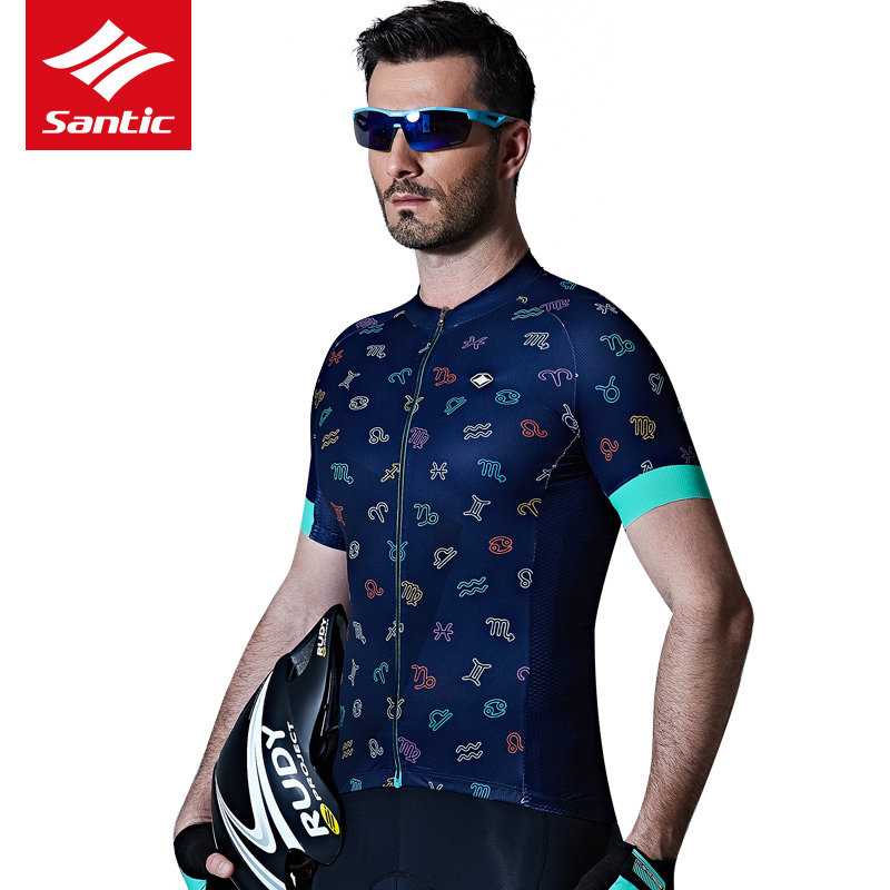 Santic Men Cycling Jersey 2017 Pro Team Short Sleeve Downhill MTB Jersey Bike Bicycle Clothing Ciclismo Roupa Breathable Comfort beibehang of wall paper classic european damask non woven wallpaper flocking wallpaper roll papel de parede contact paper