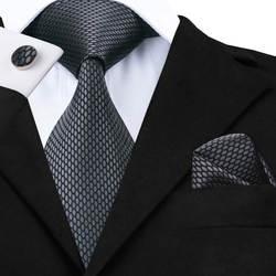 Здравствуйте-Tie новый классический серый галстук для мужчин шелк ткань жаккард Тканые галстук, носовой платок, запонки набор для мужчин