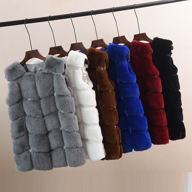 VENFLON PU Leather Faux Fur Women Winter Coat Women 2019 Casual Plus Size Sleeveless Spring Jacket Female Faux Fur Vest 5XL