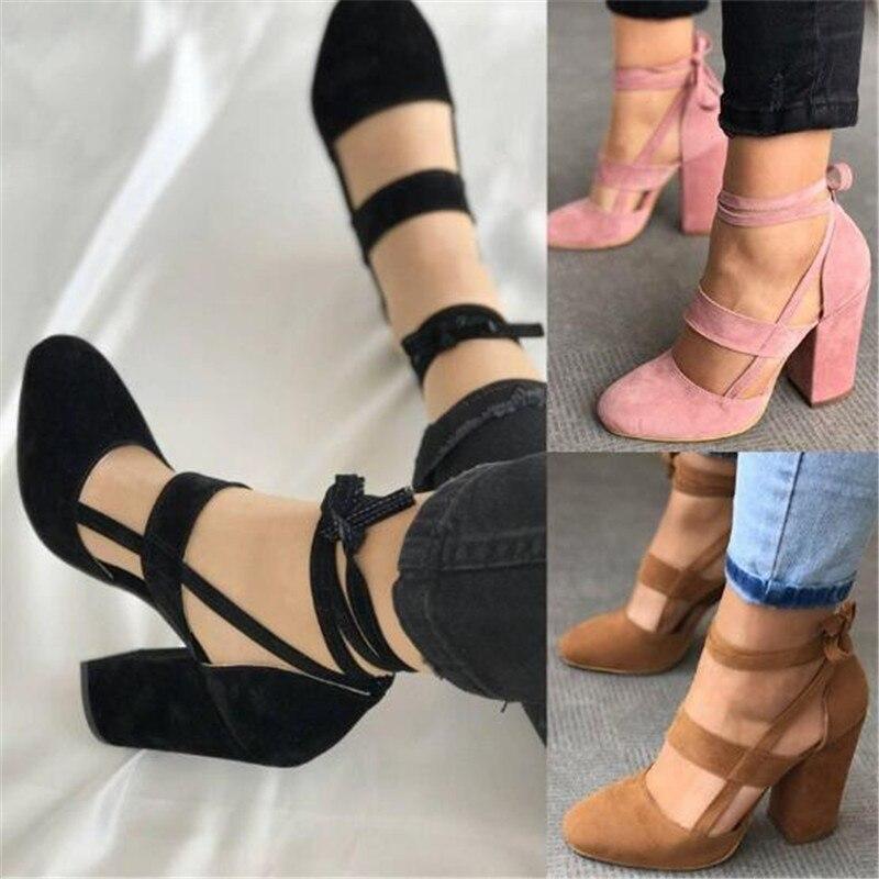 2019 Summer Women Sandals Open Toe Women's Sandles Thick Heel Women Pumps Shoes Korean Style Gladiator Shoes High heel