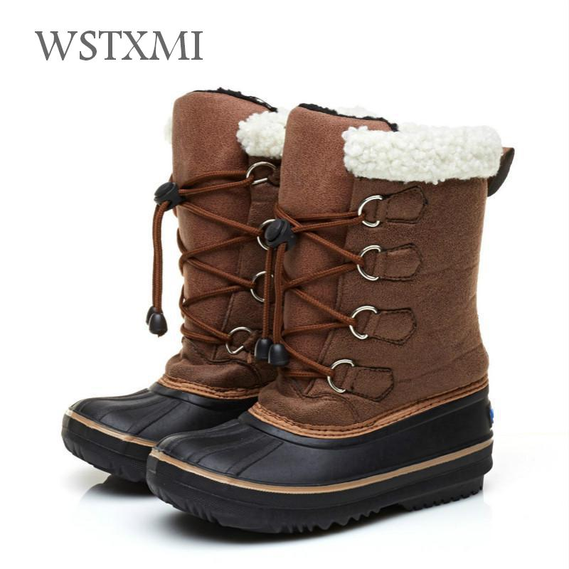Winter Kids Boots for Boys Girls Snow Boots Children Shoes Rubber Fashion Mid-Calf Boot PU Leather Warm Waterproof Cloth Thicken snow toddler fur warm boots soft mid calf kids booties waterproof baby winter pink shoes little girls boys infant boot kt902