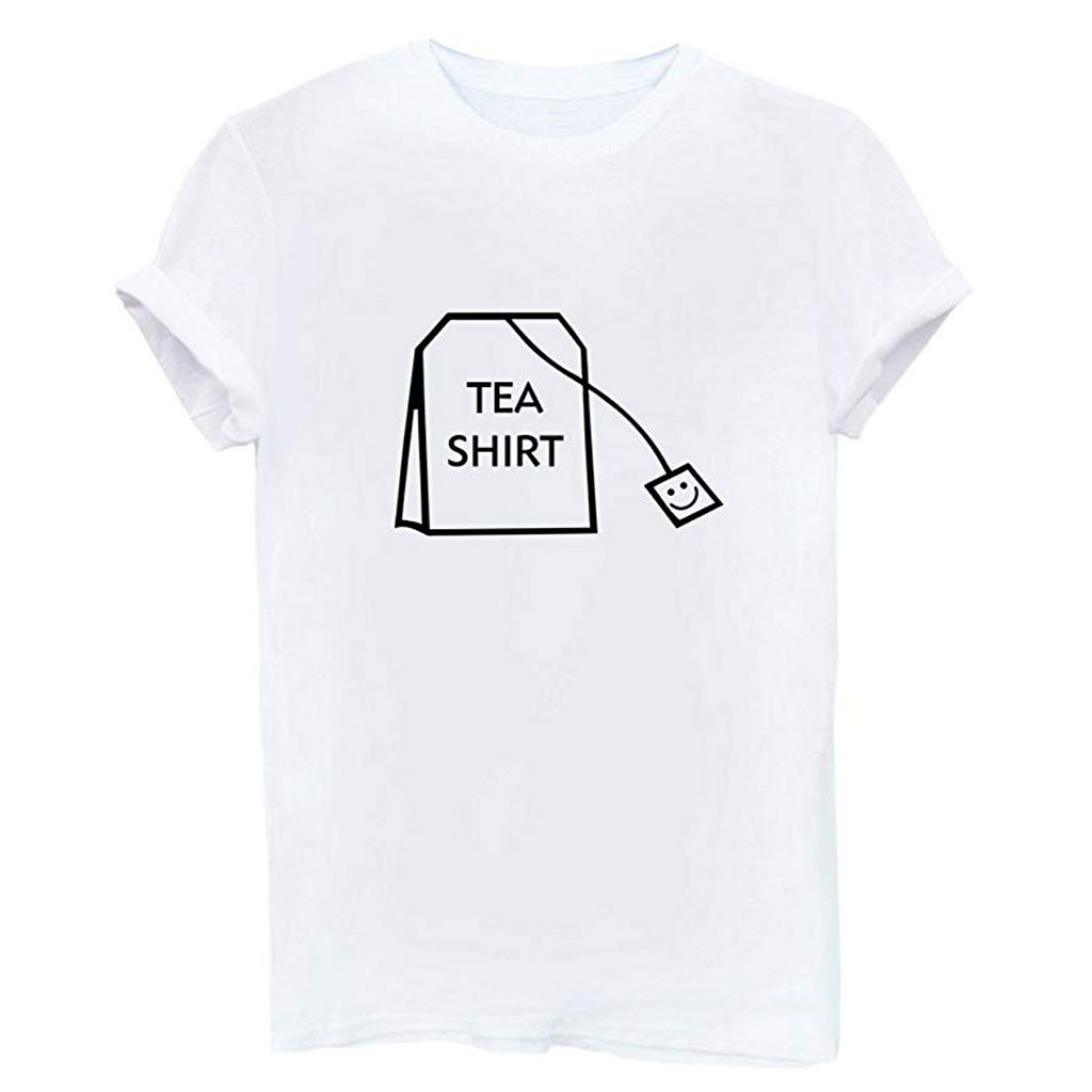 Summer Loose T Shirt Women Girl Funny Tea Shirt Letter Print Top Tees Short Sleeve Cotton Shirts Cute Junior Graphic Tee Top PT