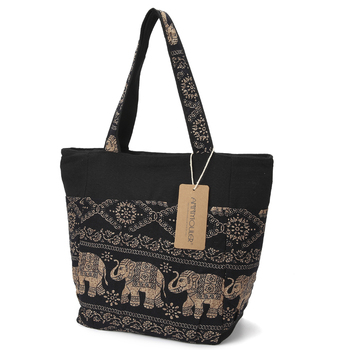 Large Capacity Canvas Tote Bag Elephant Printed Women Tote Bags Canvas Patchwork Handbags Top Handle Cotton Totes 1