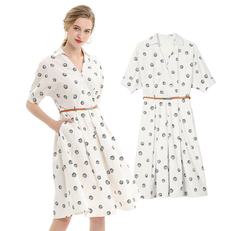 Version coréenne robe à Point de vague blanche, nouvelle robe d'été, robe en forme de A en mousseline de soie robe à manches courtes à col en V