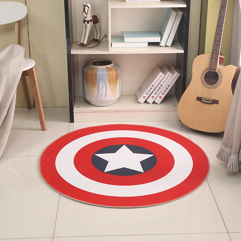 EHOMEBUY Carpet Red White Circle Star Cartoon Printing Lovely Round Carpet Rug Home Hotel Living Room Floor Mats Anti Slip|Carpet| |  - title=