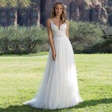 Eightree Beach 2019 Wedding dress Boho Flower Appliques Bridal Dresses Backless Gown robe de mariee Chiffon Bride Dress