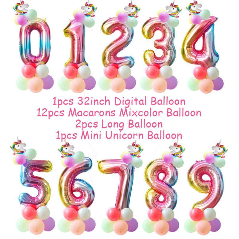 1 Набор в виде радужного единорога, 32 дюйма воздушные шары из фольги в виде цифр детская День рождения украшения гелиевый воздушный шар в форме цифры для свадьбы или «нулевого дня рождения» декор