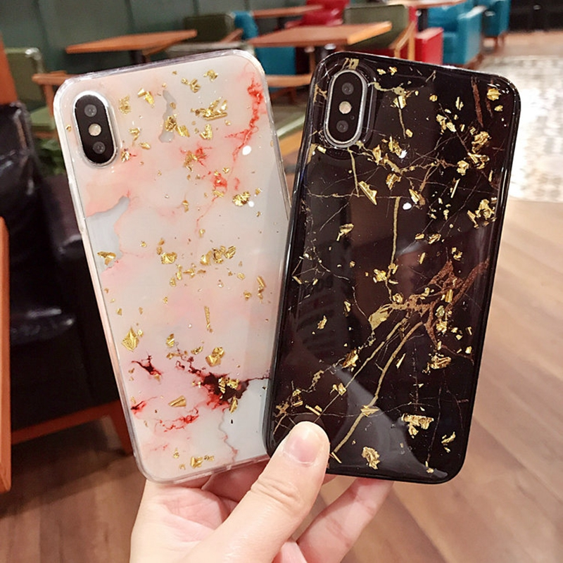 Luxury Rose Gold Flake Bling Marble Phone Cases Soft TPU Case Cover For  iPhone 7 8 6 6s Plus X Glitter Back Cover e2aceee45