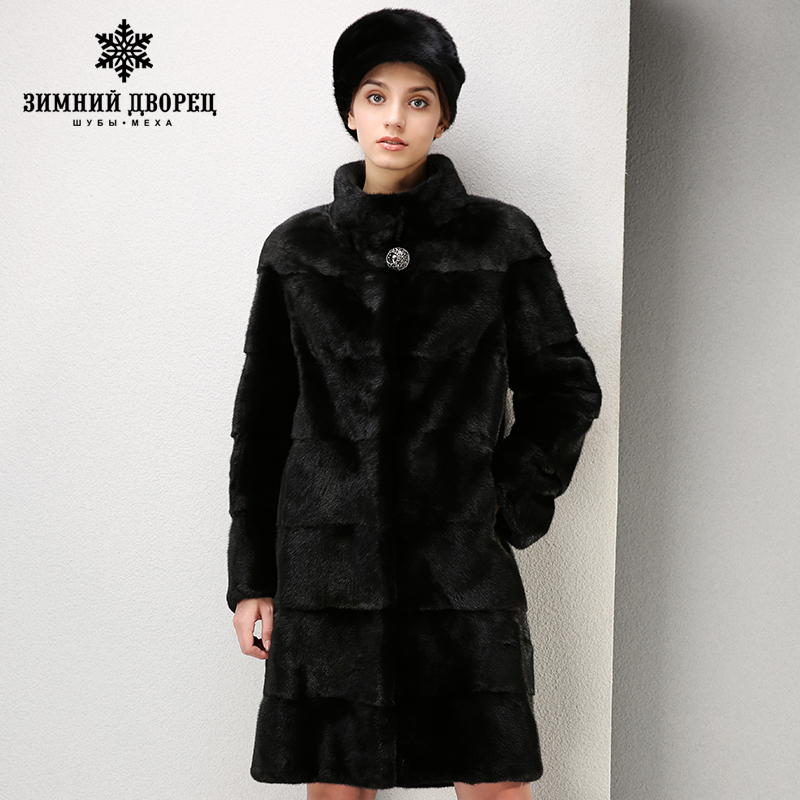 High-grade dress fashion mink fur coat Short imported coats Genuine Leather fur coats for women Mandarin Colla fur coat