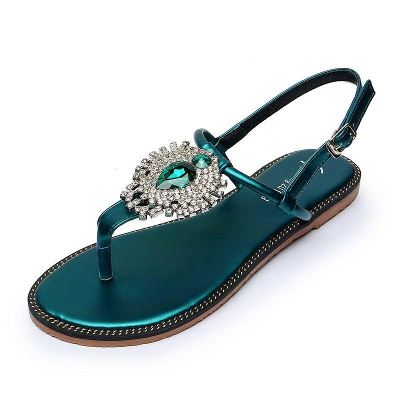 Vert Flip Grand Y510 Cristal Pantoufles Sandales Gladiateur Plat Femmes Roma Black T Strass Plage green strap Chaussures Fleur Chaîne Flops qZFqX