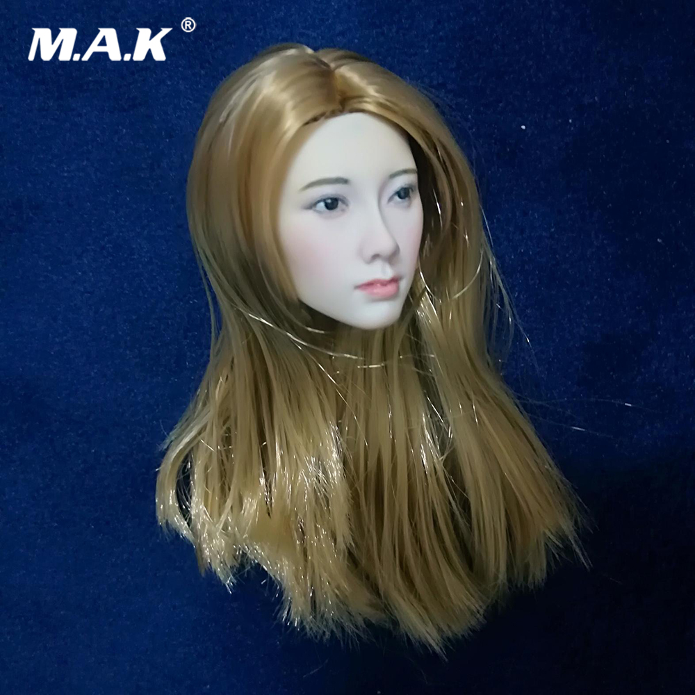 12 Inches Female Figure Custom Head Sculpt 1/6 Scale Asian Lady Girl Gold Hair Head Carving Model Accessory for 1:6 Body купить недорого в Москве