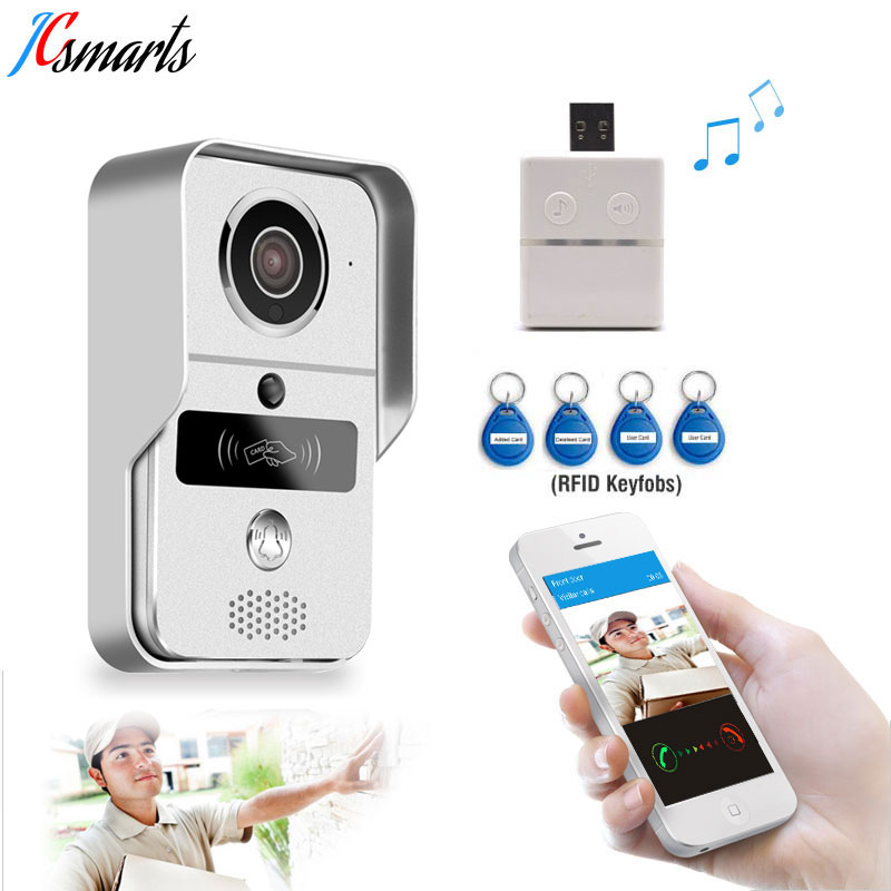 JCSMARTS RFID Access Wireless Wifi IP Doorbell Camera Video Intercom Door Bell for Android IOS Smartphone Remote View Unlock jcsmarts rfid access wireless wifi ip doorbell camera video intercom for android ios smartphone remote view unlock with sd card