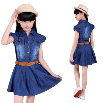 Summer style girls dress cotton cowboy children princess dresses for 3- 15 years big girls short sleeves dress Turn-down collar