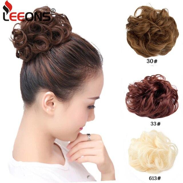 2cd2bb1dc9 Leeons Women Scrunchie Hair Bun Extension Elastic Hairpiece Wig Hair Bands  Fashion Ladies Hair Accessories Black