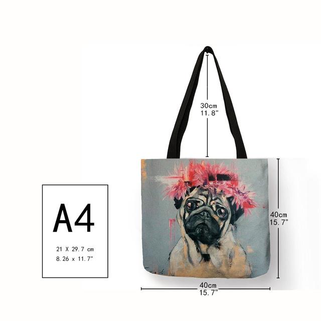 Fashion Cute Pug Patterned Shoulder Bag
