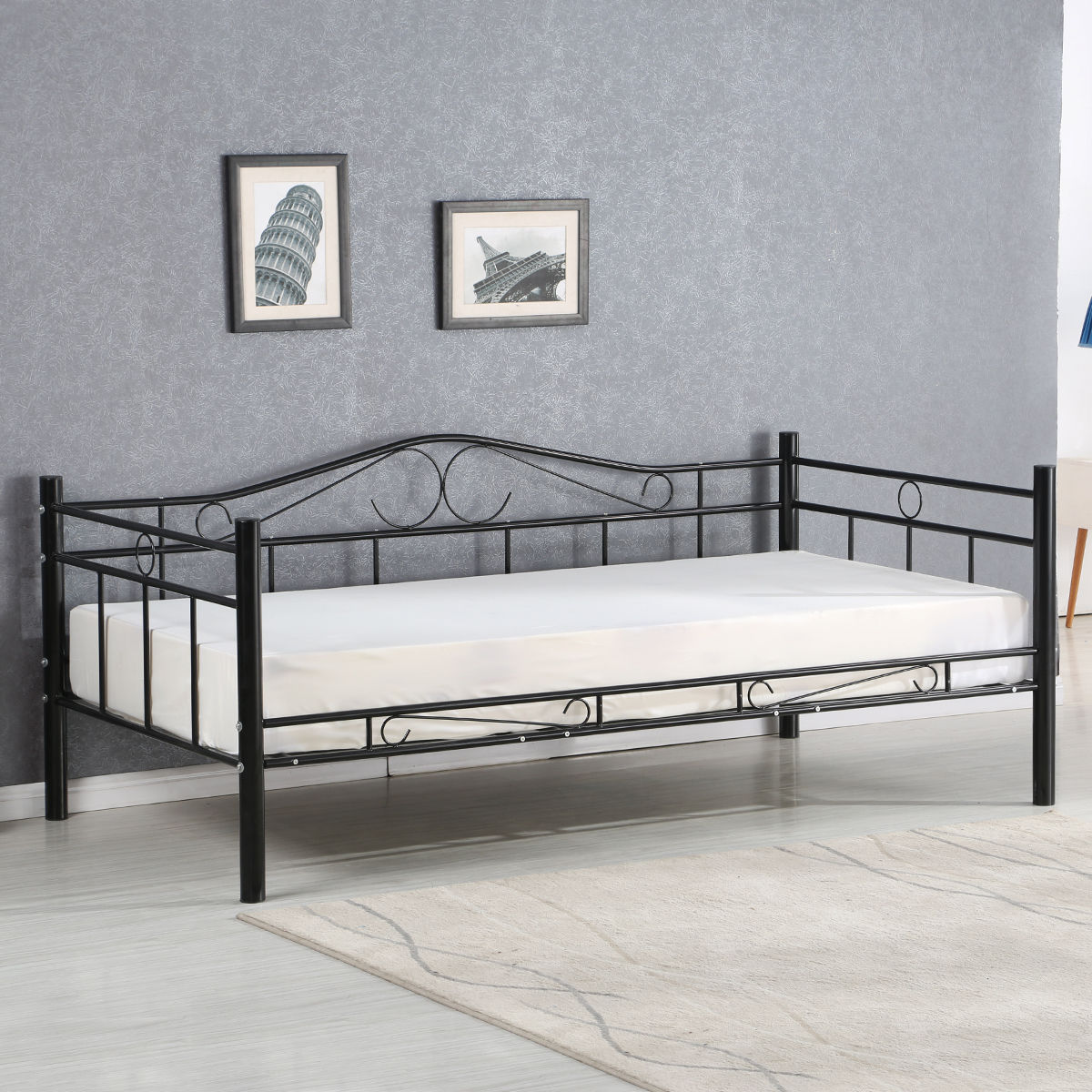 Giantex Twin Size Daybed Sofa Bed Bedroom Modern Metal Steel Bed ...