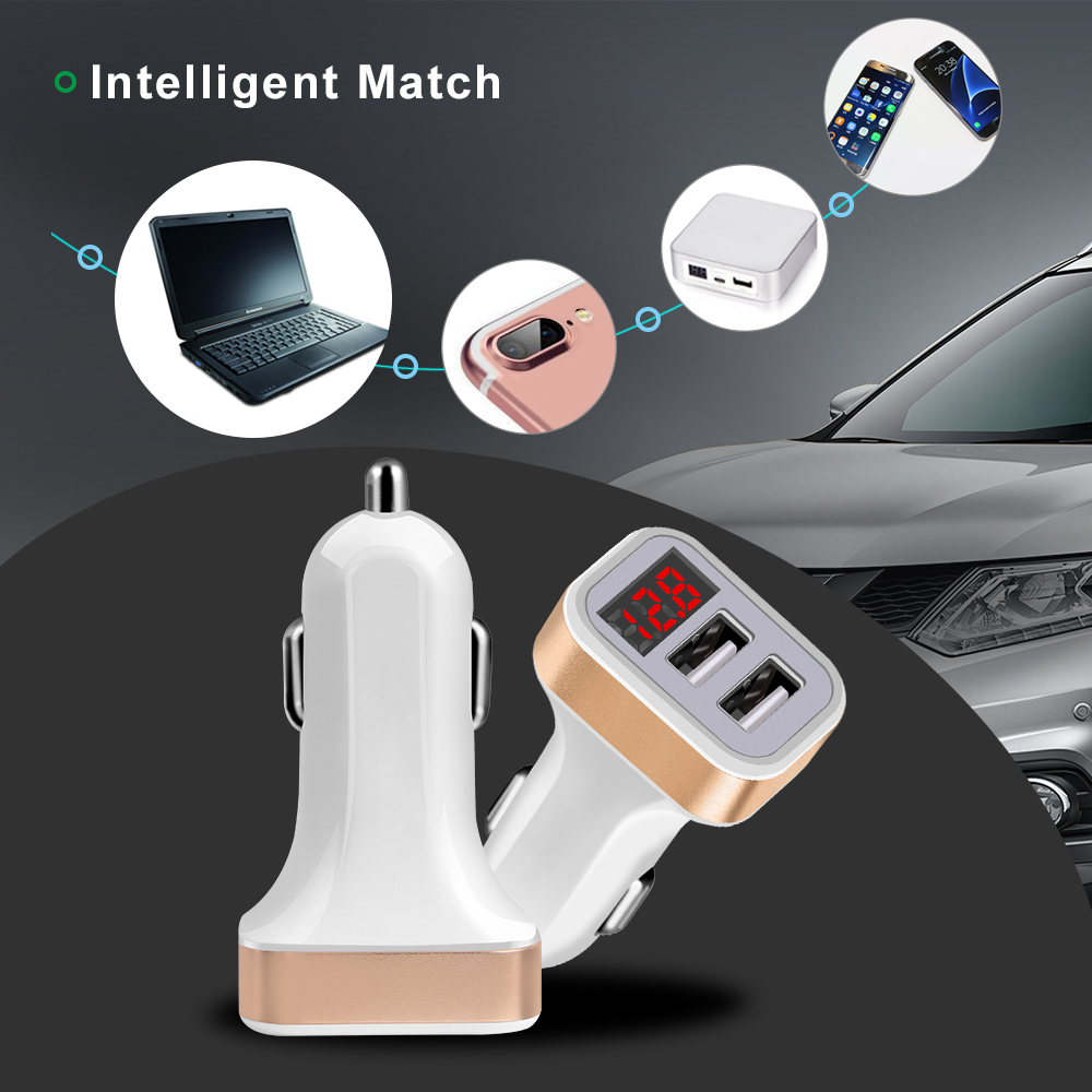 LED Red Digital Display Dual USB Car Charger For iPhone X Xiaomi Samsung S8 Voltage Monitoring Fast Phone Charging Universal (5)