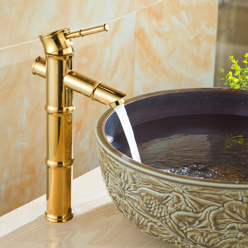 Bathroom Basin Sink Bamboo Style Faucet Basin Mixer Tap Golden Polished Copper Faucets/ Sink Faucet free shipping brass copper basin faucet basin mixer bamboo faucet bathroom tap