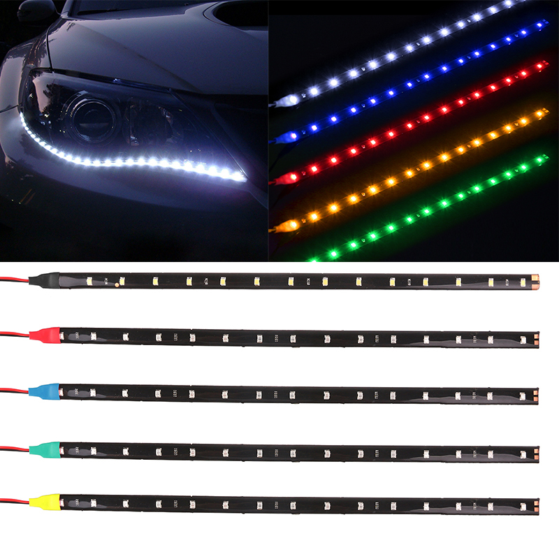 Waterproof Car Auto Decorative Flexible LED Strip HighPower 12V 30cm 15SMD Car LED Daytime Running Light Car LED Strip Light DRL flexible 3w 132lm 6 smd 5050 led white car decorative daytime running light 12v 2 pcs