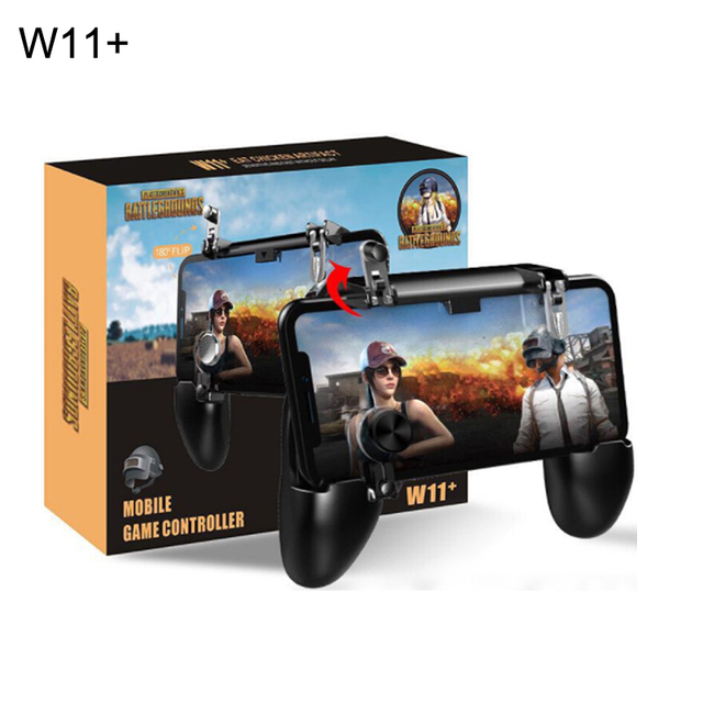 W11+ pugb mobile game controller free fire pubg mobile joystick gamepad metal l1 r1 button for iphone gaming pad android