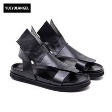 b22c55523b0ca0 2018 Italy New Summer Men Gladiator Beach Sandals Casual Genuine Leather  Personality Open Toes Thick Platform Shoes Male Sandals